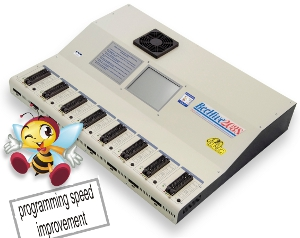 Bộ nạp Gang 8 đế nạp có khả năng hoạt động độc lập (stand-alone), có khả năng nạp với tốc độ siêu nhanh 8 chip một lượt. Hỗ trợ nạp được hầu hết các loại chip nạp được, dựa trên nền lõi 8 chiếc bộ nạp BeeProg2ghép lại với nhau.Fast universal 8x 48-pindrive stand-alone concurrent multiprogramming system for virtually all programmable chips, based on the 8x BeeProg2 programming core.+ Xem mô tả và hướng dẫn dùng nhanh phần mềm điều khiển ở đây >>